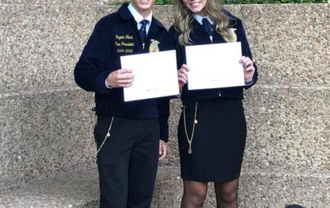 Two members of the FFA were honored with their Lone Star Degrees. Seniors Hayden Feist and Grace Hoegemeyer achieved the highest award for members at convention this summer.