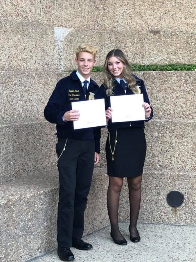Two+members+of+the+FFA+were+honored+with+their+Lone+Star+Degrees.+Seniors+Hayden+Feist+and+Grace+Hoegemeyer+achieved+the+highest+award+for+members+at+convention+this+summer.+