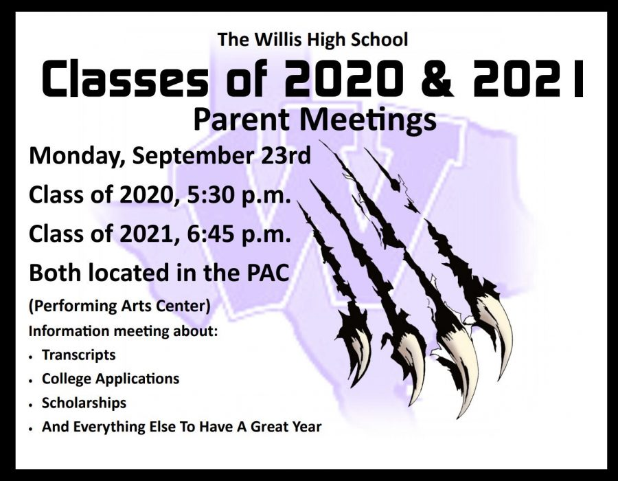 Meetings for junior, seniors and their parents are scheduled for Monday.