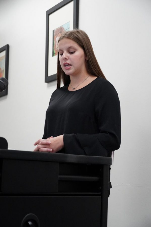 "SPEAKING FROM HER HEART. Stu-co president senior Gracie Dorris speaks at the WISD School Board meeting in support of a dedicated student section. ""I want to find a solution to this as soon as possible,"" Dorris said."