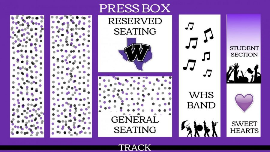 DIAGRAM OF STADIUM WITH NEW STUDENT SECTION. For the homecoming game on October 5, there will new student section. The band and Sweethearts will also be moved.