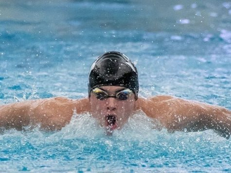 Swimming the butterfly, junior Zach Clark competes against New Caney and Porter at the team's first official meet of the season last year. Clark and other members of the Aquakats, will face Oak Ridge tonight at the CISD Natatorium.