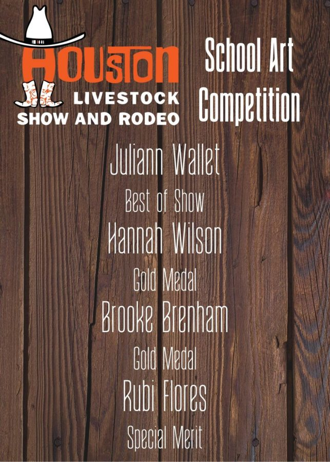 Four+students+were+honored+for+their+rodeo+art+projects.+Winners+will+be+displayed+at+the+Houston+Livestock+and+Rodeo+in+March