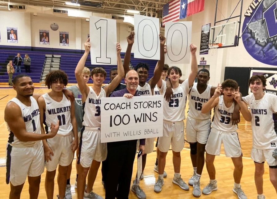 Coach+Michael+Storms+celebrates+his+100th+win+as+a+Wildkat+with+a+win+over+Kingwood+Park.+