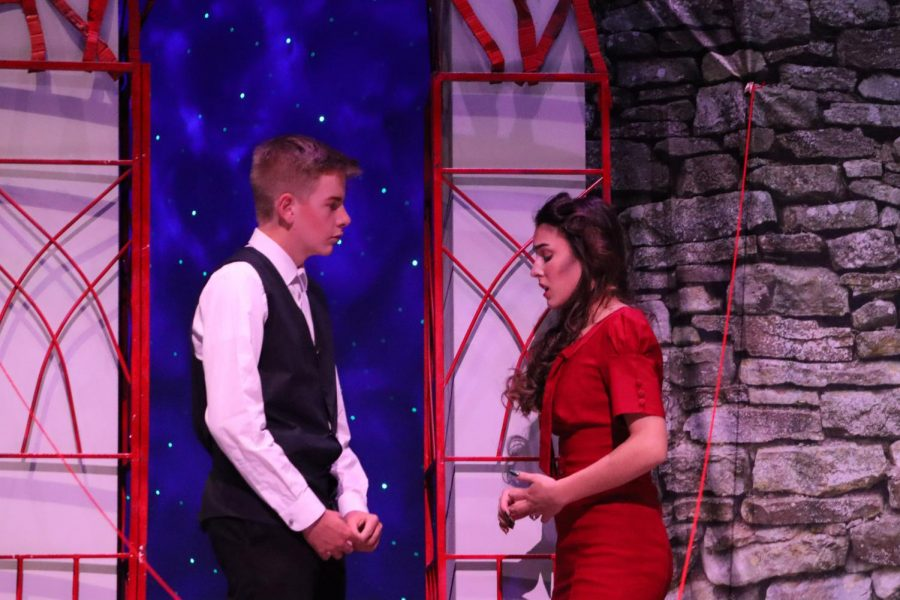 LOVE FINALLY FOUND. Looking for his wife, Orpheus, sophomore Colton Land, find Eurydice, senior Addison Kee, visits the underground.