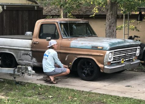 During the time away from class, freshman Blaine Eckert works on his '68 Ford F-100. He is using his welding skills learned in class this year and his free time to give the vehicle a new look.