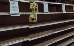 Shelves at a local HEB are empty in March. Many stores have experienced problems keeping stock on shelves.