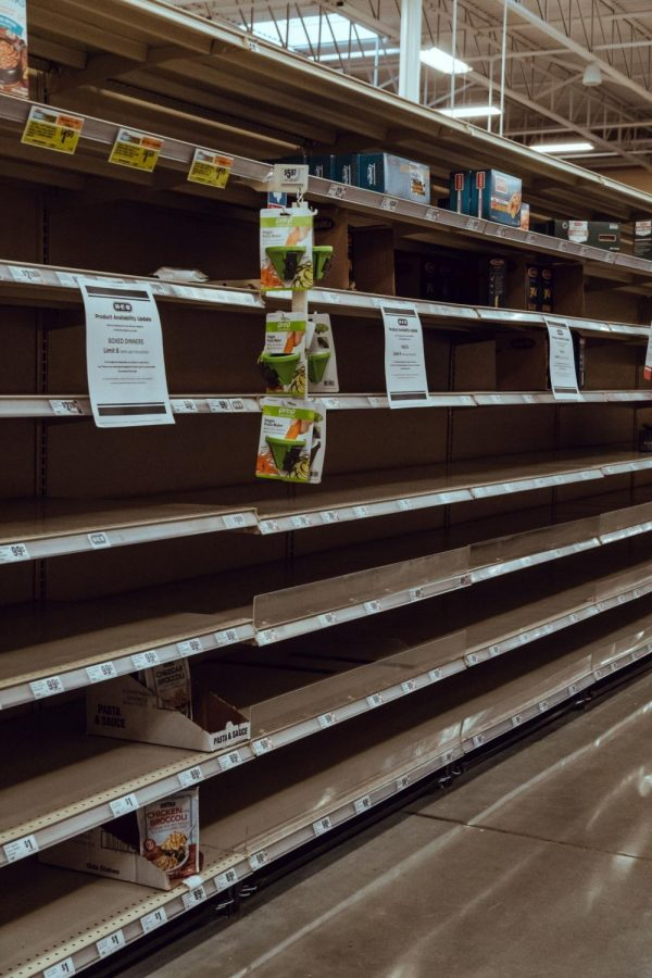 Shelves+at+a+local+HEB+are+empty+in+March.+Many+stores+have+experienced+problems+keeping+stock+on+shelves.+