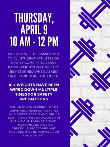 Coaches will distribute weights Thursday, April 9th.