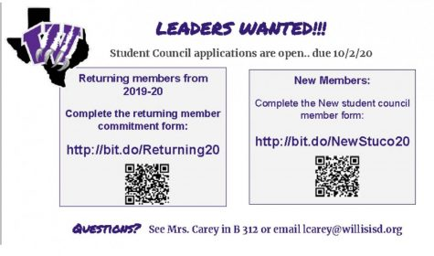 LEADERS WANTED. Student Council applications are now available. Scan the codes or find the applications at the address listed.