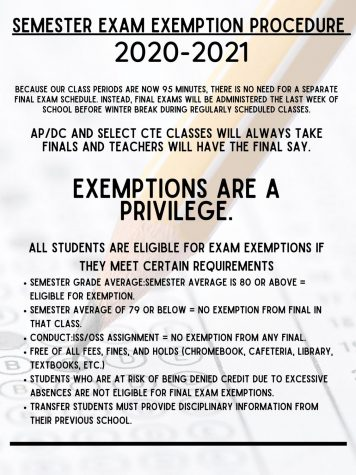 EXAM EXEMPTIONS. Semester exams will be the last week of the semester before holiday break.