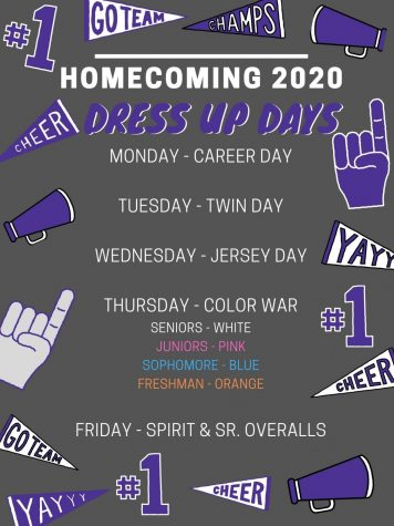 HOMECOMING 2020. During homecoming week, show school spirit by dressing up for the spirit days.