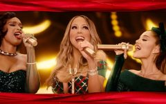 SANTA BABY.  In Mariah Carey's Christmas Special, Jennifer Hudson, Carey and Ariana Grande sing 'Oh Santa' . Grande and Carey harmonized their whistle tones for their performance.