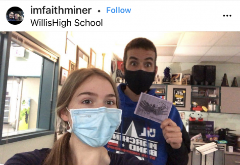#KATS$KINDNESS. Snapping a shot with band director Chris Allen, junior Faith Miner takes part in the scavenger hunt for kindness day. Miner posted photos with several other teachers.