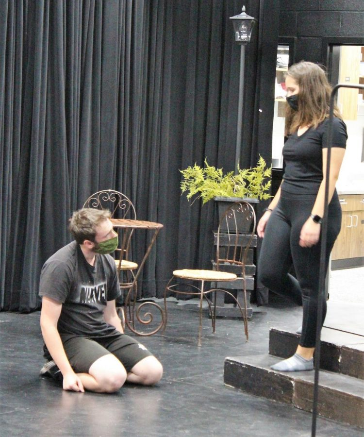 PRACTICE MAKES PERFECT. Playing the roles of Stanley and Stella, juniors Josh Brookshire and Zoe Picken practice for this year's One Act Play,