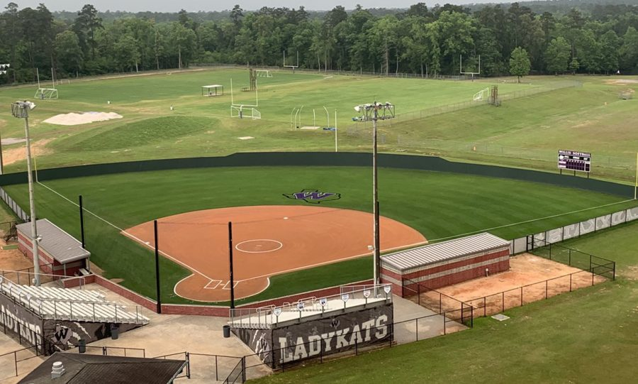 READY FOR ACTION. Shelly Field, home of the softball team, is ready for play. Spring sports including softball, baseball, golf, tennis and track are practicing and holding tryouts in preparation of the spring season.