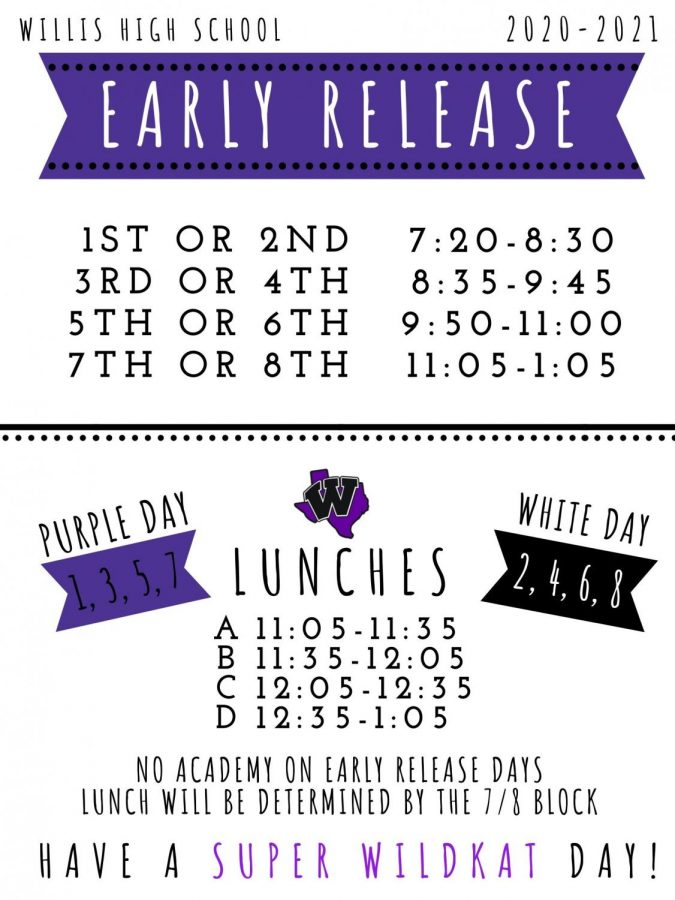 Friday, Jan. 15 is early release. Here is the new schedule including D lunch.