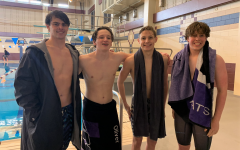 RECORD BREAKING. At the 16-6A District Meet, the 400 free relay broke a school record.  The relay team was junior Zack Clark, senior Ollie Bowling, sophomore Peyton Sewell and sophomore Brooks Cesan. Clark also broke records for the 100 freestyle and 100 backstroke at the meet.