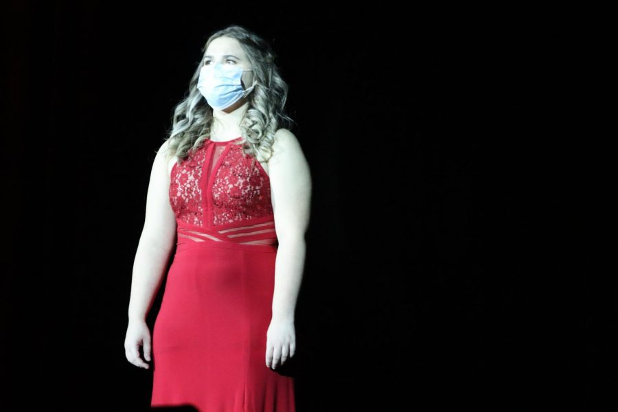 EMBRACING HER INNER STREISAND. Sophomore Emily Alexander gives the audience her own version of the song Funny Girl from Funny Girl, originally sung by Barbra Streisand.