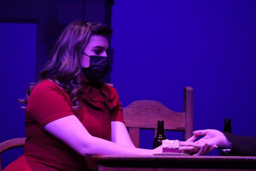 EXPLORING DARK THEMES. Senior Jill Berger's character, Blanche, tries to conceal her sordid past while on a date with Mitch.
