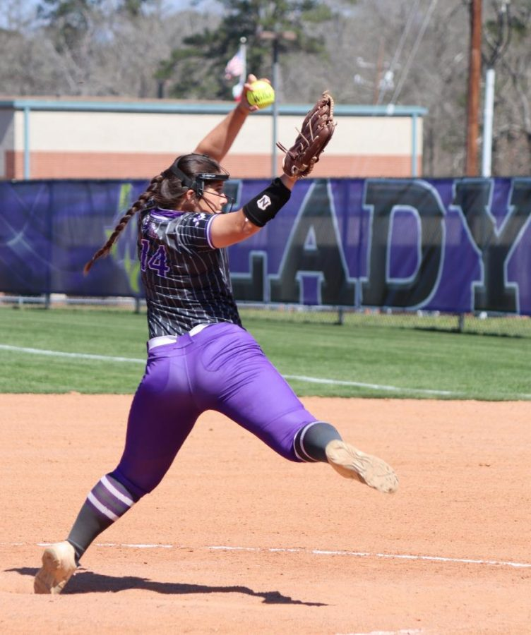 1 2 3 RALLY. Pitching for the Ladykats softball team during the tournament was senior Marissa Fletcher.