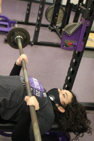 HEADED TO REGIONALS. During a practice session, junior Janice Maldonado works on getting stronger for the regional meet. Maldonado is one of four lifters competing Wednesday, March 3 in Alvin.