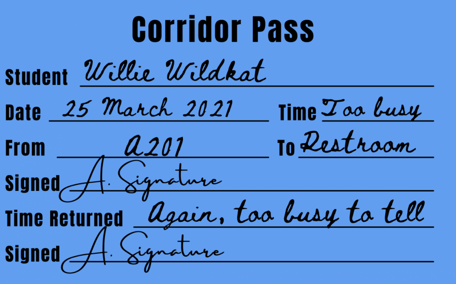 DO NOT FORGET THE PASS.  Hallway rules require fresh passes for every student when they leave the classroom.
