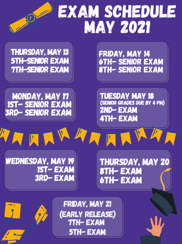 Final exam schedules begins May 13th and all senior grades are due May 18th by 4 pm.