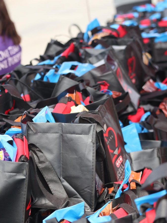 TEACHER GOODIES. Bags of treats donated by HEB are lined up waiting for distribution.