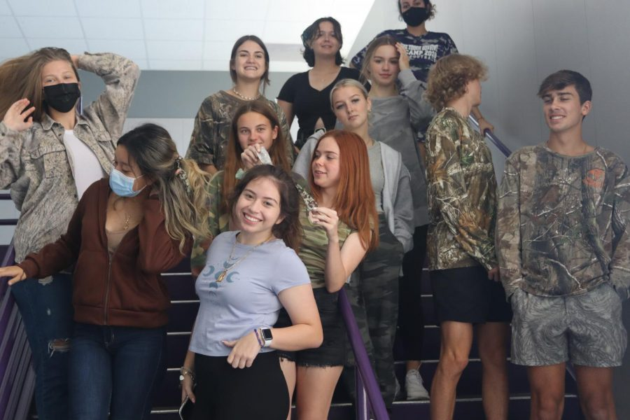 SENIOR SPIRIT. Camo was everywhere, especially on senior classes as they school hunted the cougars. The seniors was one of two classes who will attend the pep rally based on their school spirit.