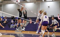 PURE POWER.  In a game against New Caney, senior Taylor Thomas sends the ball over the net. The team swept the Eagles in three sets.