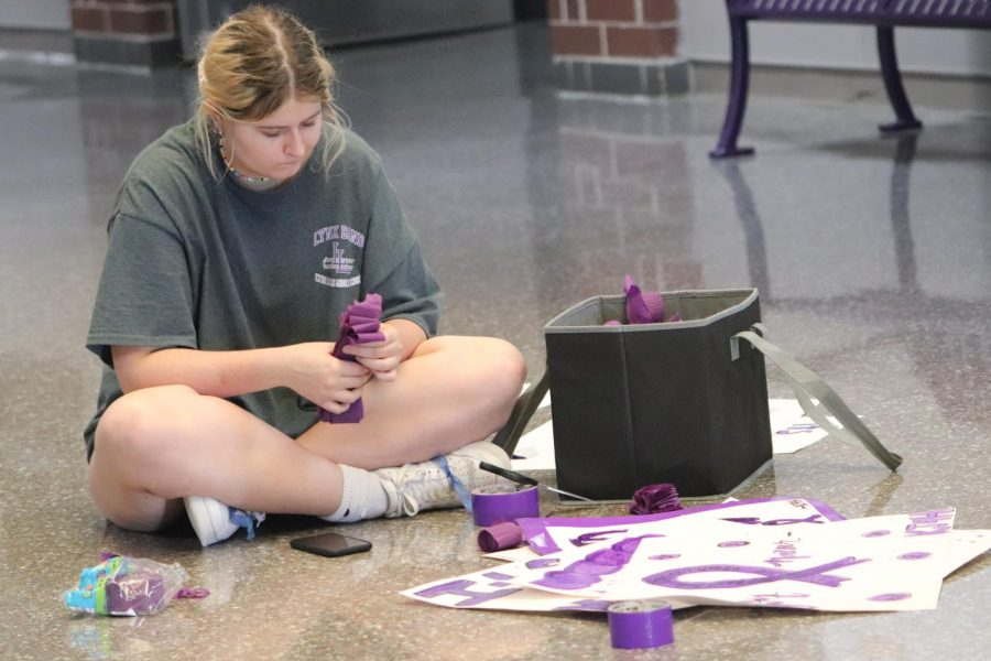 DECKING THE HALLS. As a member of Kats Joined for Hope, senior Alex Johnson helps decorate the foyer before Purple Out Day.