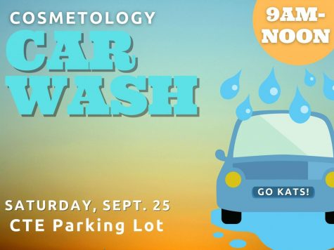COSMO CARWASH. Members of the cosmetology classes are hosting a car wash Saturday, Sept. 25 in the CTE parking lot. Proceeds will go towards buying supplies.