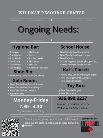 ONGOING NEEDS. The Wildkat Resource Center serves students, parents and staff members of the Wildkat community. They have ongoing needs of items they keep in stock to better serve the community.