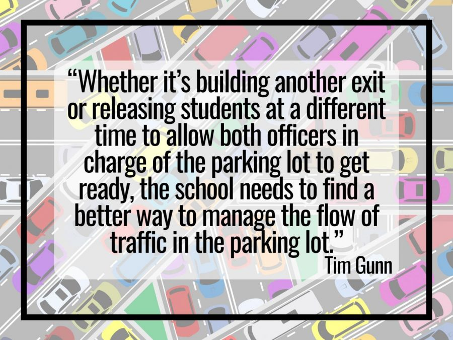 PARKING LOT PROBLEMS. Students are experience long waits as they leave after the 3:05 bell. Senior Tim Gunn argues more should be done.