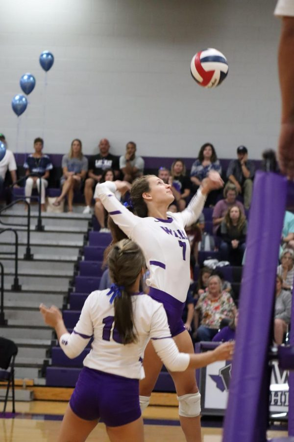 SPIKE. During the second set of the game, senior Rylee Mcdonald kills the ball.