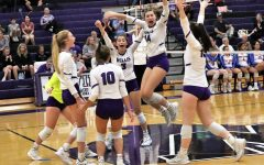 GOOD JOB. After winning a point against the Lady War Eagles, the team celebrates. After a tough district battle, the LadyKats lost in four sets.
