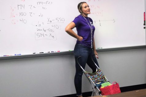 TEACHING WITH SPIRIT. Embracing the Anything but a Backpack theme, math teacher Jennifer Mitchell teaches one of her many DC classes. She teaches college algebra, statistic and trig for DC students.